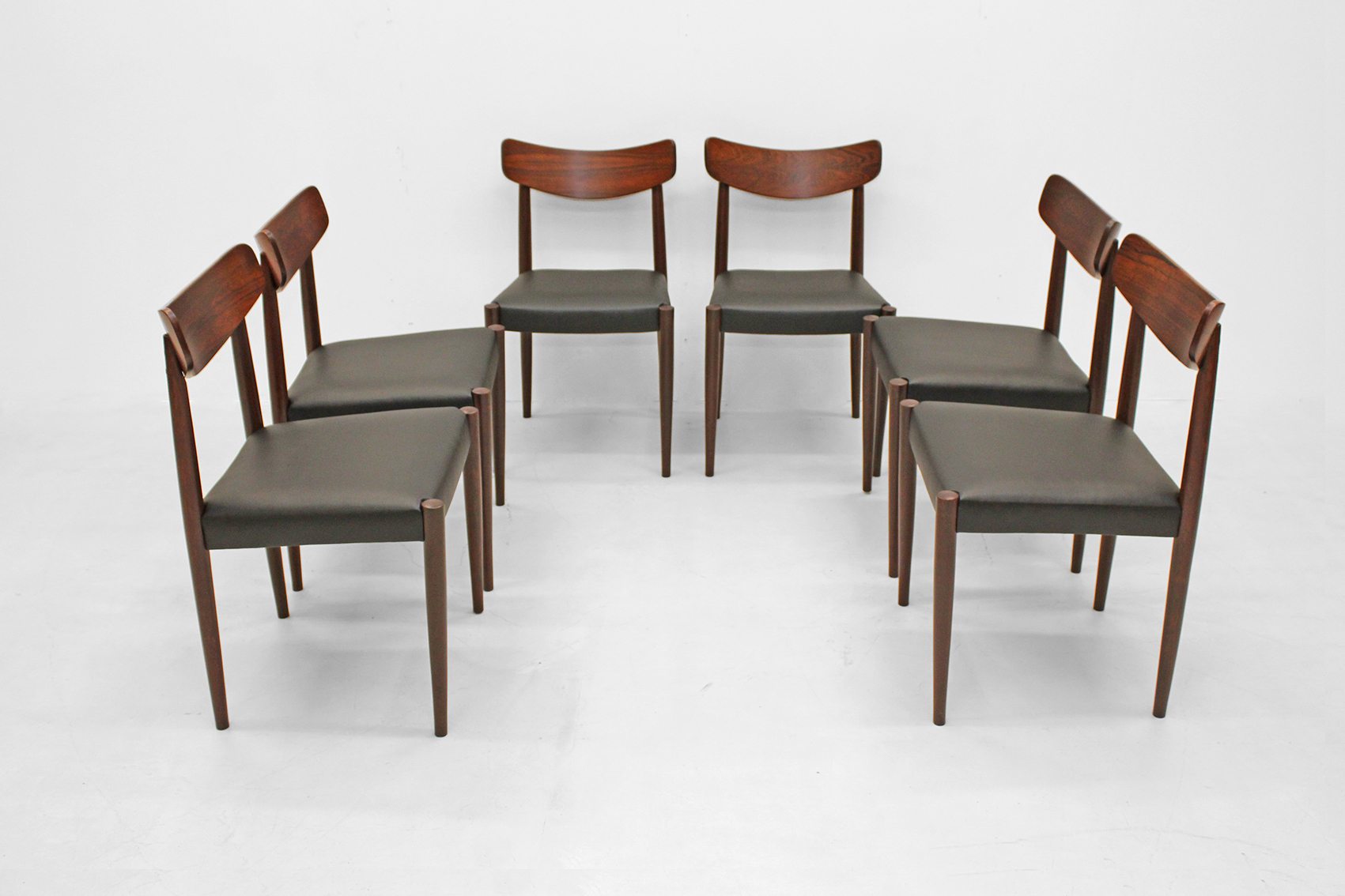 set of six chairs in Brazilian rosewood