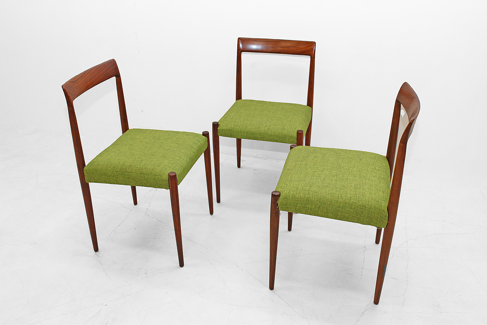 set of tree danish chairs in brazilian rosewood.